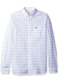 Lacoste Men's Long Sleeve Windowpane Check Oxford Regular Fit Woven Shirt CH3946-51