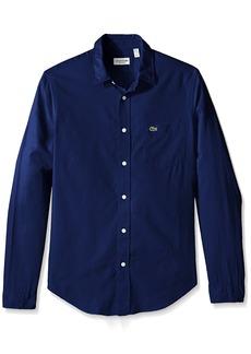 Lacoste Men's Long Sleeve Yarndyed Garment Wash Solid Reg Fit Woven Shirt CH3936-51