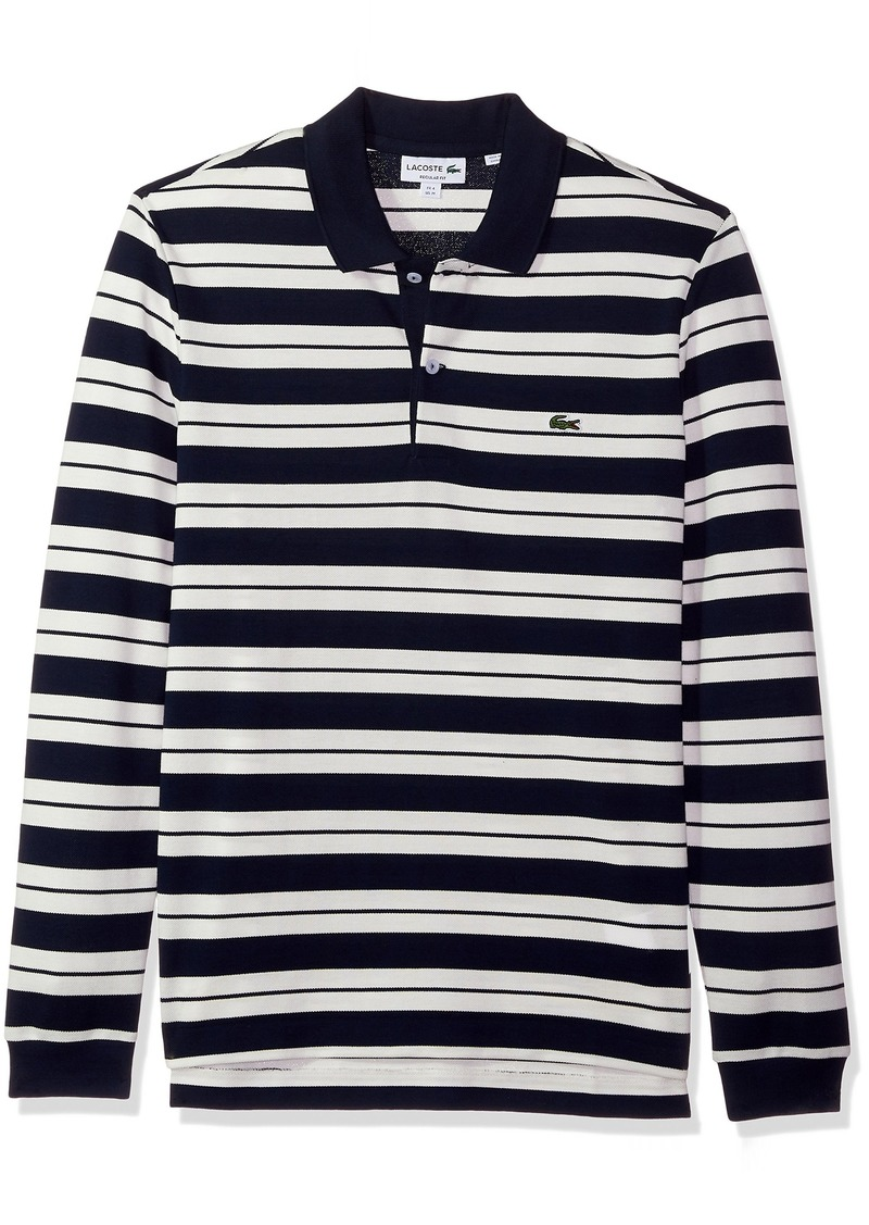 47a688513d90 Lacoste Lacoste Men s Long Sleevestriped Pique Polo-Regular Fit ...