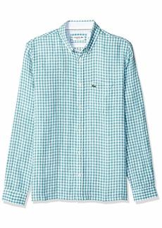 Lacoste Men's L/S Check Regular FIT Linen Button Down Collar Woven