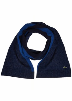 Lacoste Men's Made in France Jersey Wool Scarve ENCRIER moline/navy blue