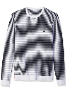 Lacoste Men's Made in France Stripe Crew with Side Zipper Sweater AH3007