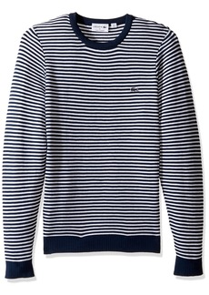 Lacoste Men's Made in France Stripe Crew with Side Zipper Sweater AH3007 Ship/White-Legion Blue 4X-Large
