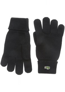 Lacoste Men's Men's Green Croc Wool Gloves black