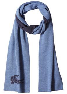 Lacoste Men's Men's Large Contrast Croc Jacquard Wool Scarf anchor chine/blue pigment chine