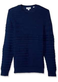 Lacoste Men's Mix Jersey and Stitch Cotton Sweater with Broken Stipes