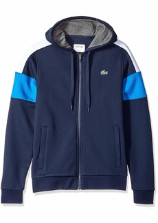 Lacoste Men's Mixed Media Colorblock Hooded Sweatshirt Navy White/Blue Roya