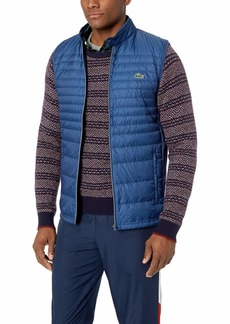 Lacoste Men's Mixed Media Vest with Down Padding inkwell/inkwell