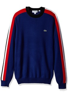 Lacoste Men's Mouline Jersey & Jacquard Wool Blend Sweater with Stripes