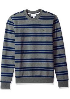 Lacoste Men's Non Brushed Fleece Striped Sweatshirt