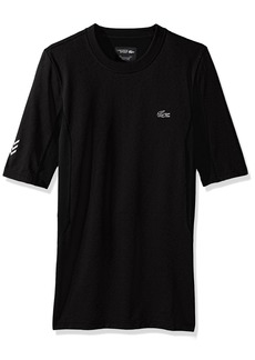 Lacoste Men's Performance Compression Short Sleeve Tee Shirt TH2079-51 Black/Black-Fluo Green M