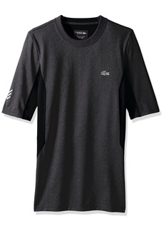 Lacoste Men's Performance Compression Short Sleeve Tee Shirt TH2079-51 Black/Charcoal Grey-France