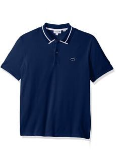 Lacoste Men's Short Sleeve 3 Plys Heavy Pique Polo With White Outline Croc methylene/methylene/White M