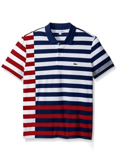 Lacoste Men's Short Sleeve Broken Striped Regular Fitular Pique Polo White/methylene/Ladybird/Mill Blue L