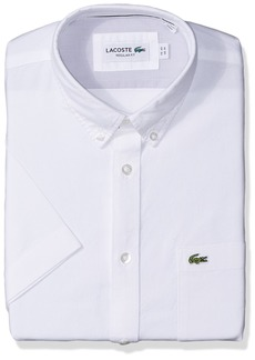 Lacoste Men's Short Sleeve Button Down Oxford Solid Shirt Regular Fit White 2XL