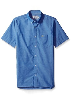 Lacoste Men's Short Sleeve Button Down with Pocket Color Chamraby  2XL