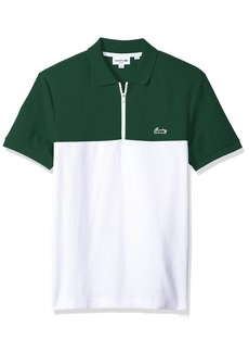 Lacoste Men's Short Sleeve Color-Block Honeycomb Pique Slim Polo PH3239 Green/White L