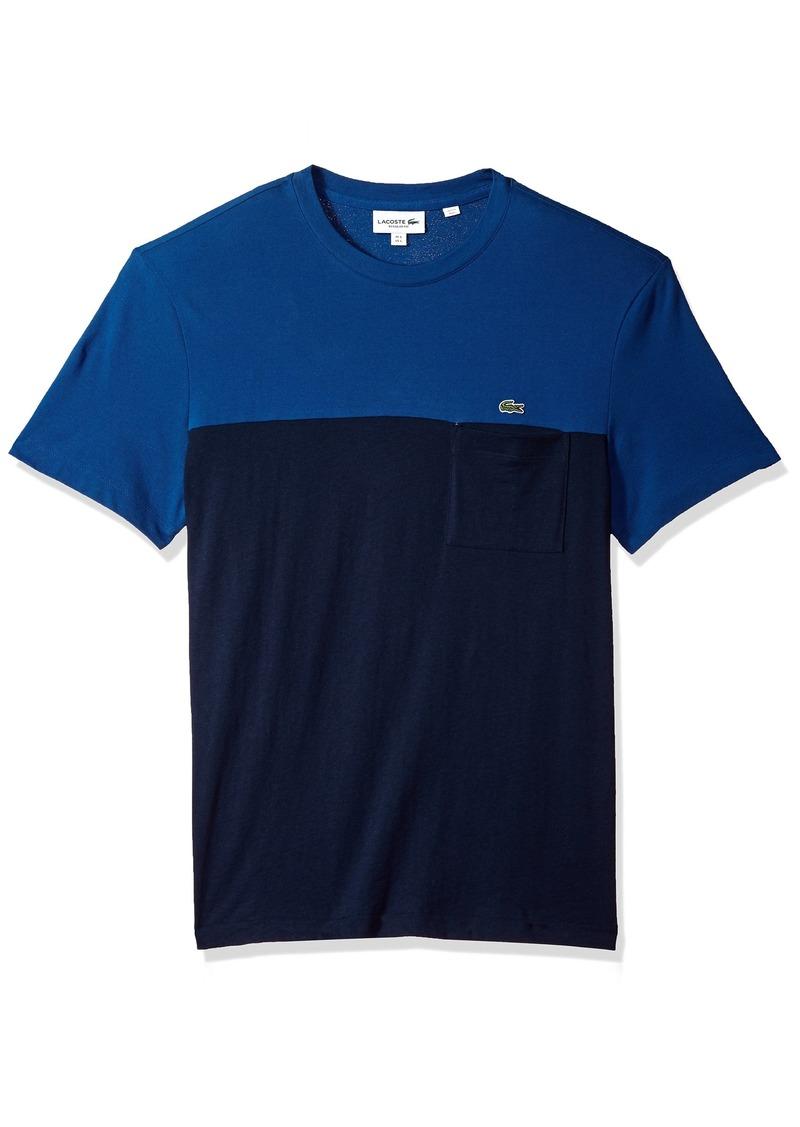 Lacoste Men's Short Sleeve Color Block Mini Pique+Jersey Reg Fit T-Shirt TH3161