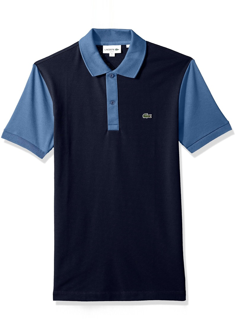 61534ffe Lacoste Men's Short Sleeve Color Block Pique Pima Stretch Slim Polo PH3170