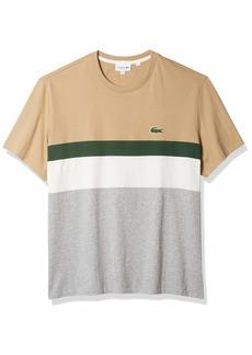 Lacoste Men's Short Sleeve Colorblocked Stripe T-Shirt Silver Chine/Flour-Green XXX-Large