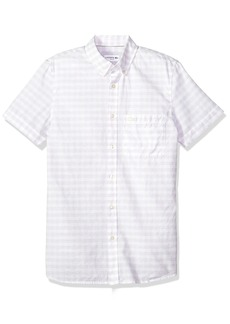 Lacoste Men's Short Sleeve Cotten/Linen Checked Button Down Collar Slim Woven Shirt CH5008