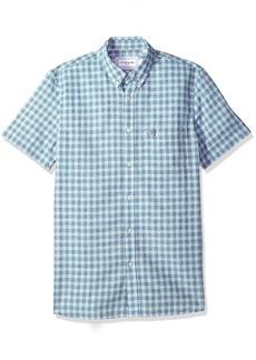 Lacoste Men's Short Sleeve Cotten/Linen Checked Button Down Collar Slim Woven Shirt CH5008