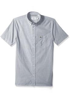 Lacoste Men's Short Sleeve End Button Down Collar Slim Woven Shirt CH4985