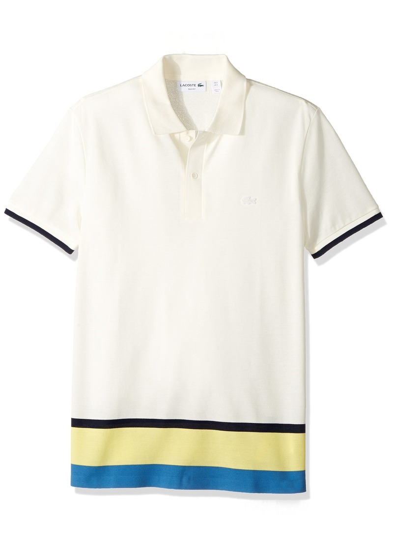 34fcc0d5e91d5 Lacoste Men s Short Sleeve Engineered Stripe Botton Pique Slim Polo  Flour Thermal Blue-Sulphur