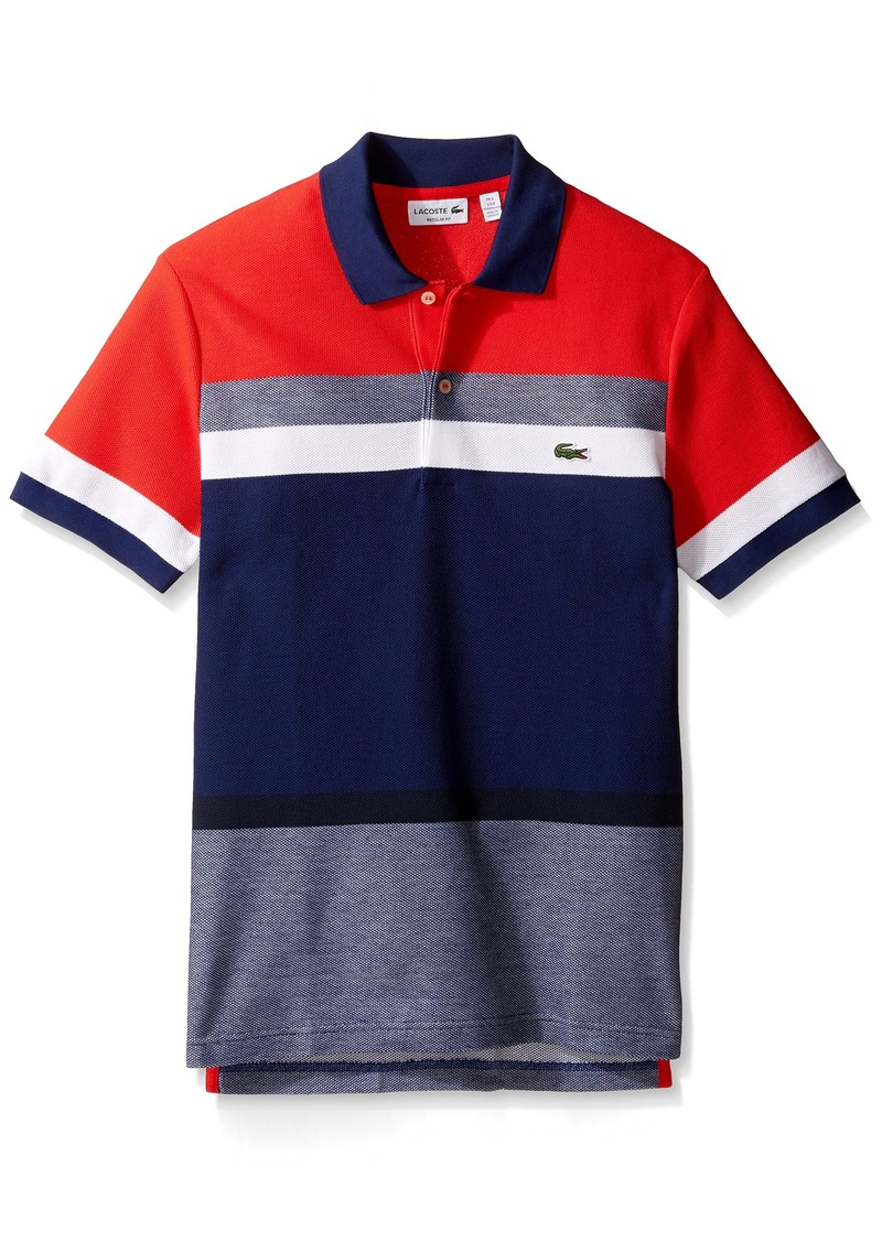 Lacoste lacoste men 39 s short sleeve engineered stripe pique for Lacoste stripe pique polo shirt