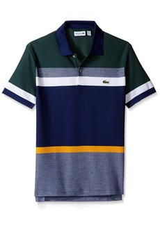 Lacoste Men's Short Sleeve Engineered Stripe Pique Regular Polo PH2077