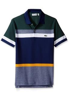 Lacoste Men's Short Sleeve Engineered Stripe Pique Regular Polo PH2077  M