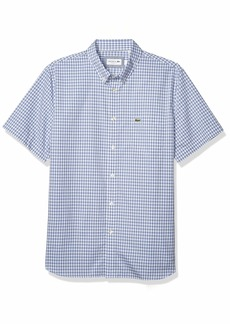 Lacoste Men's Short Sleeve Gingham Poplin Shirt  2XL