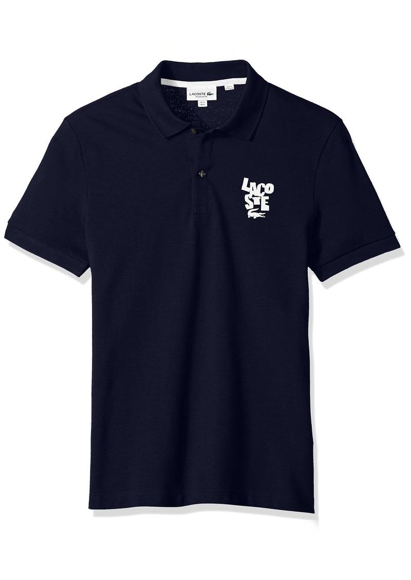 e9b3a04a Lacoste Men's Short Sleeve Graphic Pique Bonded Print Reg Fit Polo PH3244