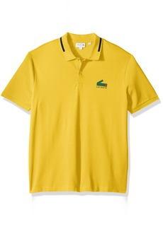 Lacoste Men's Short Sleeve Graphic Pique Polo With Printed Croc Logo  S