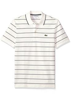 cb958fa39c1b4 Lacoste Men s Short Sleeve Heritage France Stripe Waffle Slim Polo PH3199  4X-Large