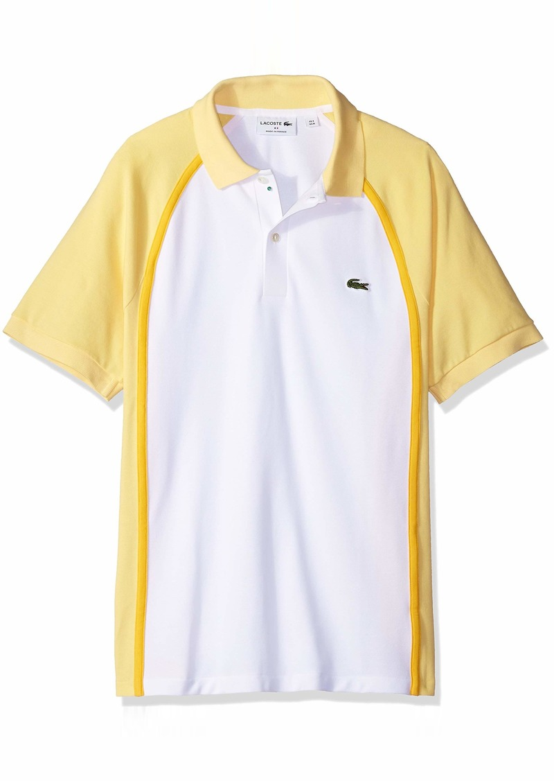 8b253853a Lacoste Men s Short Sleeve Made in France Pique Reg Fit Polo PH3210 Blanc  Jaune-