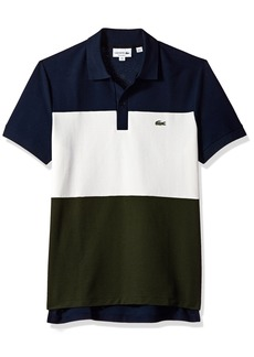 Lacoste Men's Short Sleeve Noppe Pique Striped Color Block Polo