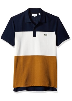 Lacoste Men's Short Sleeve Noppe Pique Striped Color Block Polo  L