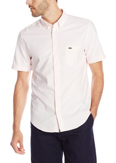 Lacoste Men's Short Sleeve Oxford Regular Fit Button Down Woven Shirt  42