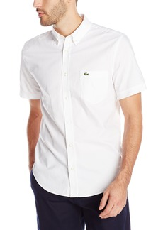 Lacoste Men's Short Sleeve Oxford Regular Fit Button Down Woven Shirt White/White 40
