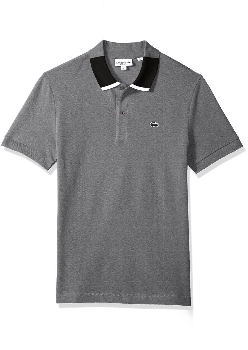 788d88a83 Lacoste Men's Short Sleeve Petit Pique with Color Block Collar Reg Fit Polo  PH7221 Galaxite Chine