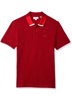 Lacoste Men's Short Sleeve Petit Pique with Color Block Collar Reg Fit Polo PH7221 Turkey Red/Toreador-White