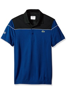 415df56a Lacoste Men's Short Sleeve Pique Ultra Dry with Colorblock & Contrast  Piping Polo DH4121 Black/