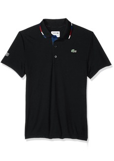 Lacoste Men's Short Sleeve Pique Ultra Dry with Multi-Color Collar Piping Polo DH3122 Black/Red-Marino-White XL