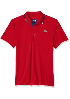 Lacoste Men's Short Sleeve Pique Ultra Dry with Multi-Color Collar Piping Polo DH3122 Red/Marino-Black-White