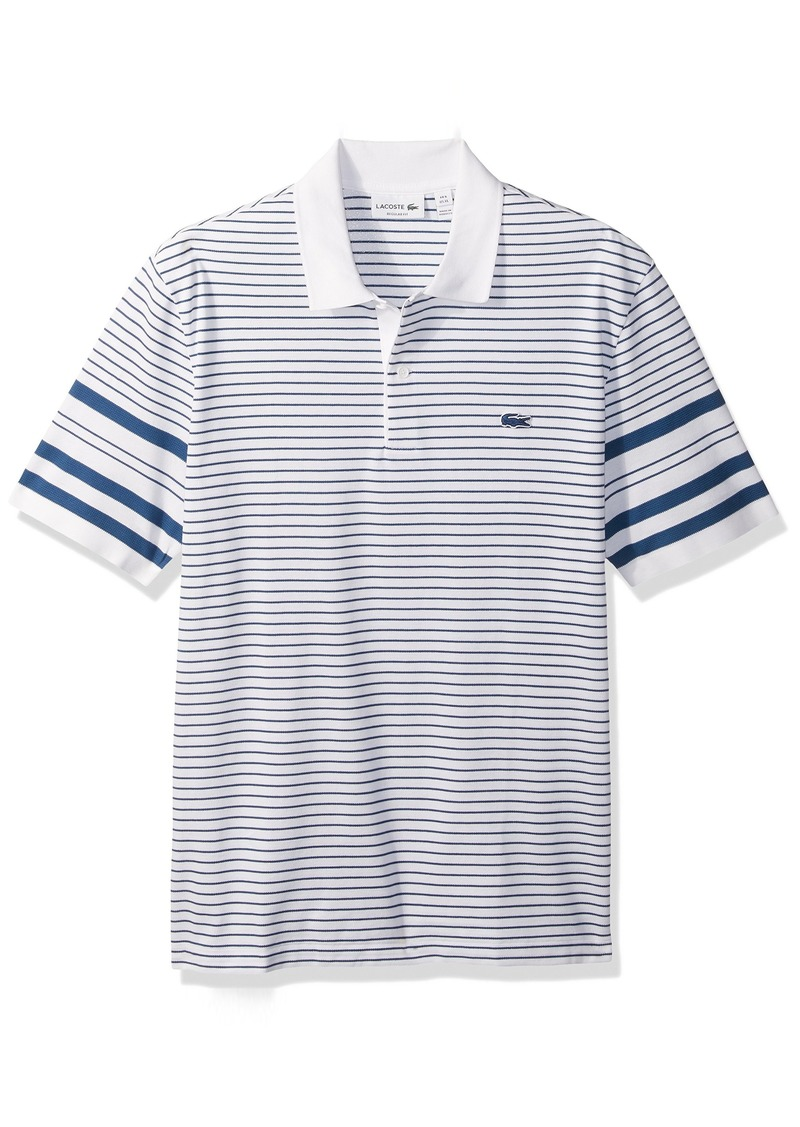 37a40ae450c6 Lacoste Lacoste Men s Short Sleeve Pique with Waffle Stripe Reg Fit ...