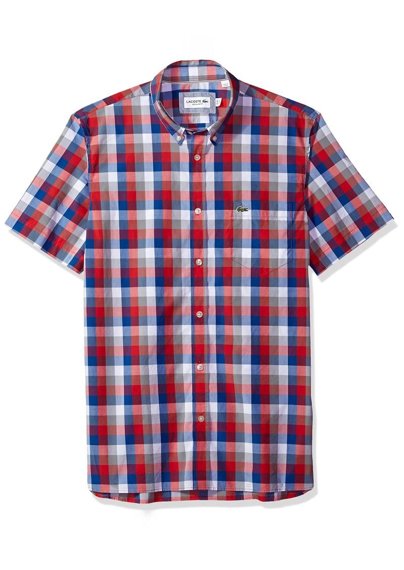 427a30267 Lacoste Men s Short Sleeve Poplin Check Button Down Collar Reg Fit Woven  Shirt CH5805