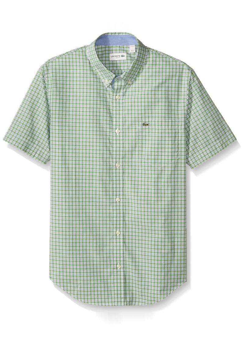 e6b3d10b Men's Short Sleeve Poplin Check Slim Fit Woven Shirt