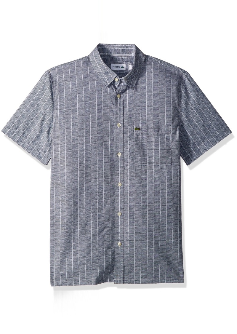 3a1d26164 Lacoste Men s Short Sleeve Printed Button Down Collar Regular Fit Woven  Shirt CH4965