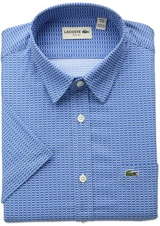Lacoste Men's Short Sleeve Printed Poplin Slim Fit Woven Shirt
